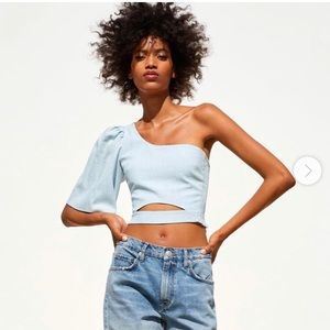 Baby Blue Puffy Sleeved Crop Top